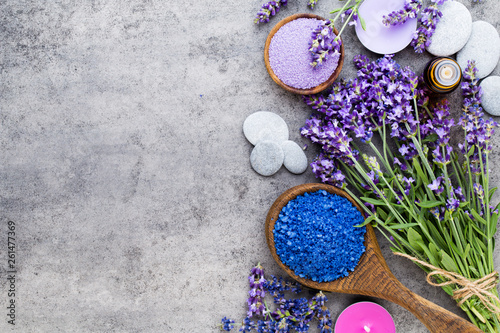 Essential lavender salt with flowers top view. - 261477369