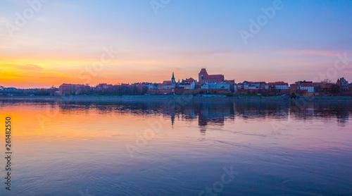 Torun old town at amazing sunset, Poland