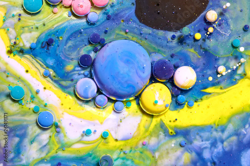 Leinwandbild Motiv Colourful acrylic bubbles.Abstract ink design template mixed texture background. Liquid color backdrop. Wallpaper pattern. Oil poster . Design template. Fluid art