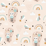 Seamless pattern with cute rabbit girl, rainbow, stars, balloons. Creative childish background. Perfect for kids apparel,fabric, textile, nursery decoration,wrapping paper.Vector Illustration - 261493920
