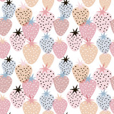 Seamless pattern with creative strawberries. Hand drawn fruits trendy background. Great for fabric and textile. - 261493937
