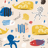 Seamless childish pattern with fish, octopust, whales and hand drawn shapes. Creative under sea kids texture for fabric, wrapping, textile, wallpaper, apparel. Vector illustration - 261495115
