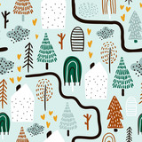 Seamless pattern with trees, houses. Forest background. Childish texture for fabric, textile.Vector Illustration - 261495118