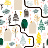 Seamless pattern with trees, houses. Forest background. Childish texture for fabric, textile.Vector Illustration - 261495121