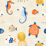 Seamless childish pattern with octopus, sea horse, fish,turtle.Creative under sea summer texture for fabric, wrapping, textile, wallpaper, apparel. Vector illustration - 261495125