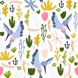 Seamless childish pattern with colorful collibri, flowers, leaf. Creative scandinavian floral texture for fabric, wrapping, textile, wallpaper, apparel. Vector illustration - 261495135