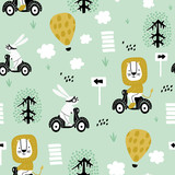 Seamless pattern with bunny and lion riding on scooter. Creative childish texture. Great for fabric, textile Vector Illustration - 261495144