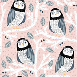 Seamless pattern with owls on trees. Creative woodland childish texture. Great for fabric, textile Vector Illustration - 261495161