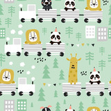 Children s seamless pattern with cute animals riding the train in the Scandinavian style. Creative vector childish background for fabric, textile - 261495167