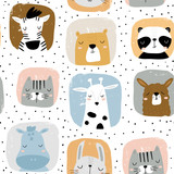 Seamless childish pattern with funny hand drawn animals portreits . Creative scandinavian kids texture for fabric, wrapping, textile, wallpaper, apparel. Vector illustration - 261495174