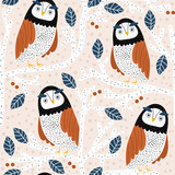Seamless pattern with owls on trees. Creative woodland childish texture. Great for fabric, textile Vector Illustration - 261495177