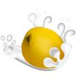 Fruta, citrico, limon, fresco, aislada, splash, mesh, leche, yogur, postre, vitamina c, dieta, vegetariano, beber, vector, eps 10.