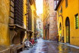 Old street with historic houses in Lucca, Tuscany, Italy