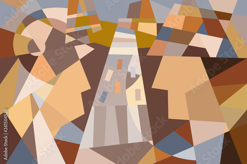 Abstract image of a man and a woman in brown - 261504530