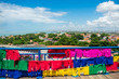 Quadro Viewpoint with colorful flags and Olinda and Recife's cityscape - Pernambuco, Brazil