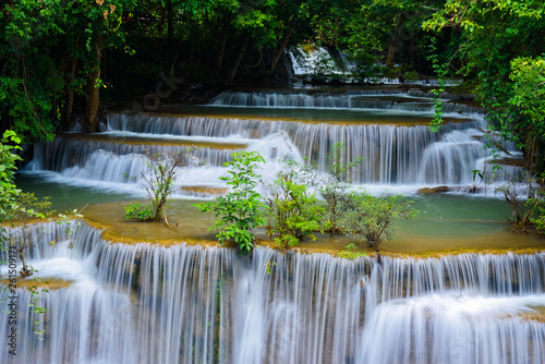 Huai Mae Khamin waterfall at Kanchanaburi , Thailand , beautiful waterfall, forest, - 261509171