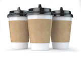 Paper coffee cups isolated on white background. Mock up . - 261509961