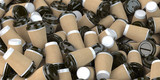 Heap of many empty paper coffee cups. Recycling of plastic waste concept. - 261509962