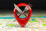 Food, restaurant or cafe location and direction concept. Pin or map point with fork nife and on  map of city. - 261509992
