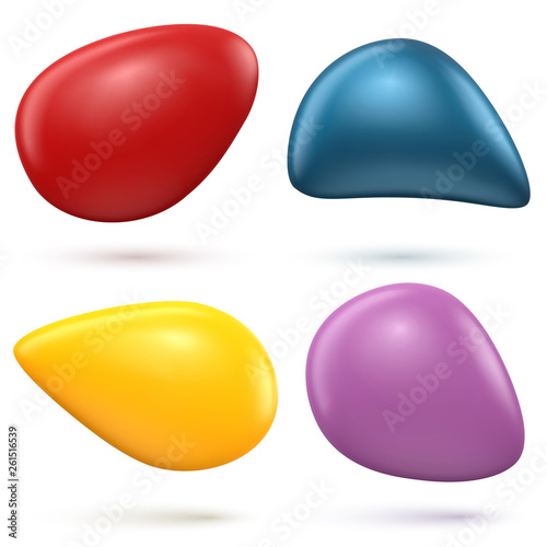 Smooth 3D Shapes on White Background - 261516539