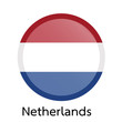 Flags of Netherlands circle shaped design.Vector