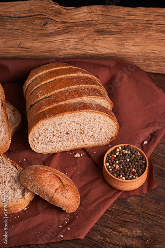 bowl of various pepper peppercorns seeds mix on table rastic style background - 261537726