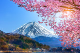 Mount Fuji and cherry blossoms which are viewed from lake Kawaguchiko, Yamanashi, Japan.