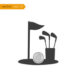 Vector black icons: Golf sports equipment