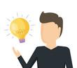 man with light bulb idea icon
