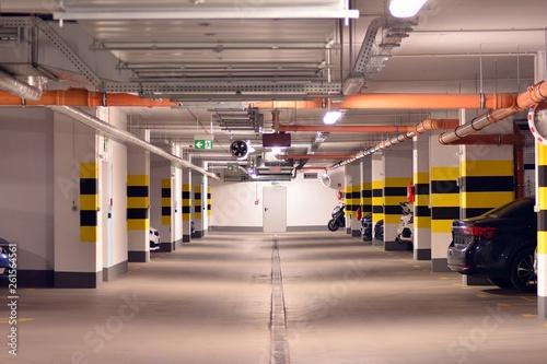Underground parking garage of a modern house