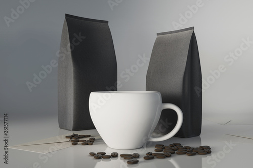 Coffee cup and coffee beans © peshkov