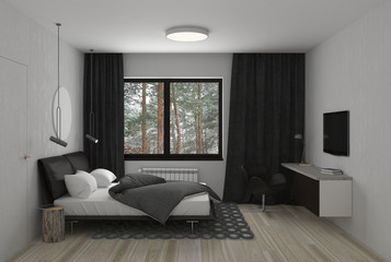 bedroom, interior visualization, 3D illustration