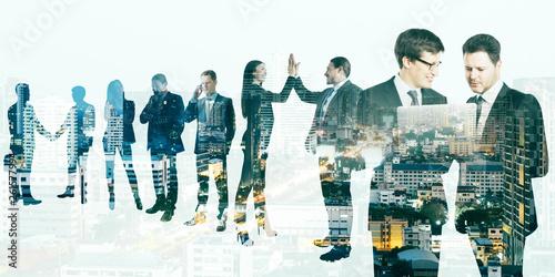 Leinwanddruck Bild Teamwork and trade concept
