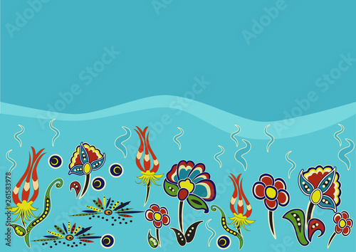 Ornament of fictional flowers at the bottom of the sea - 261583978