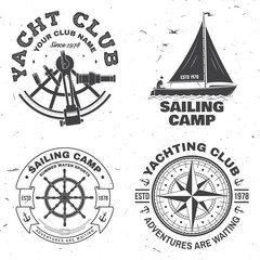 Set of summer sailing camp badge. Vector. Concept for shirt, stamp or tee. Vintage typography design with black sea anchors, hand wheel, compass and sextant silhouette. Best Sporting Activity