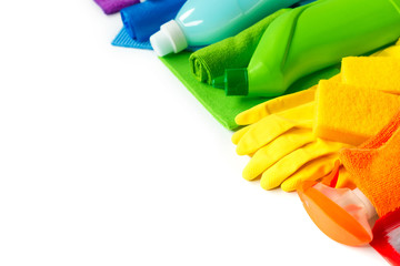 Rainbow set for bright spring cleaning in the house. The concept of spring. Copy space.