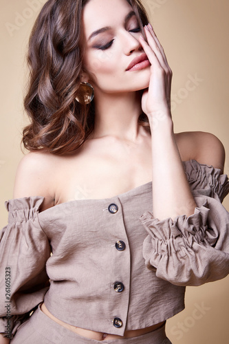 canvas print picture Portrait of beautiful sexy woman perfect face cosmetic skin care beauty salon hairdo hair style model blush mascara lipstick glamor collection accessory jewelry earrings cream young pure lotion nail.