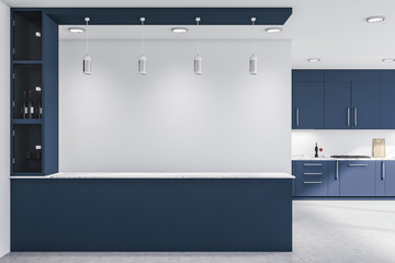 Dark blue kitchen, countertops and bar