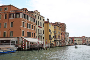Venice Venezia Italy 2019 march city view from ship. Renaissance Buildings in sea