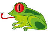 Kreskówka zwierzęca żaba na białym tle jest izolowana