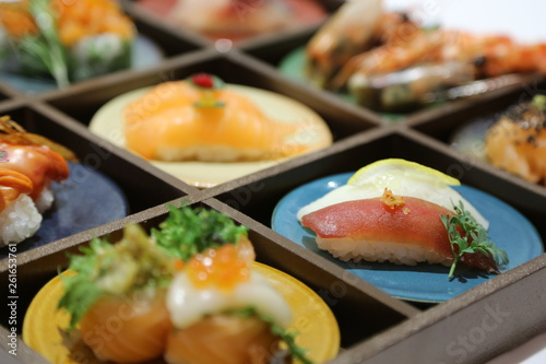 japanese sushi on a plate - 261653761