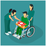 Isometric Illustration of End of Life Treatment Hospital Clinics. Nursing of Hospital Medical & Senior Nurse patients. Health 3D Flat Wheelchairs Isometric People set Vector - Vector illustration - Ve