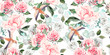 Beautiful watercolor seamless wedding pattern with eucaluptys, peony and rose. - 261674183