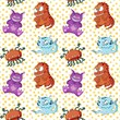 A seamless background pattern of happy, floating, cartoon, vector aliens - 261693152