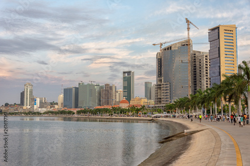 Luanda bay and seaside promenade at sunset, Marginal of Luanda capital city of Angola- skyline