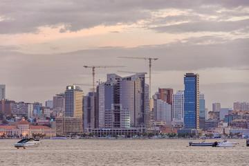 Luanda bay and seaside promenade at sunset, Marginal of Luanda capital city of Angola- skyline