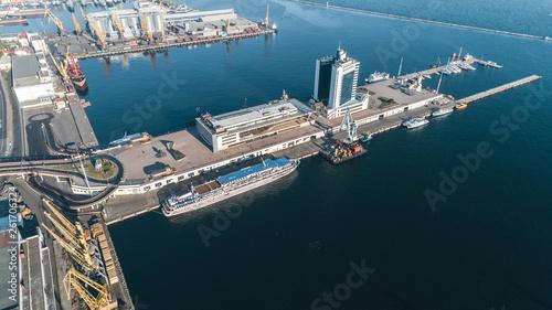 fototapeta na ścianę Aerial view panorama of Odessa with port and sea, Ukraine
