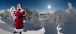 canvas print picture - Weihnachtsmann im schneiten Wald Panorama