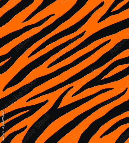 Vector seamless pattern of black and red tiger zebra stripes print fur isolated - 261756506