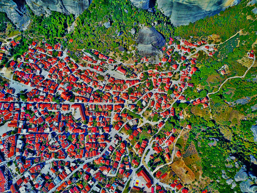 canvas print picture Meteora Klöster in Griechenland aus der Luft